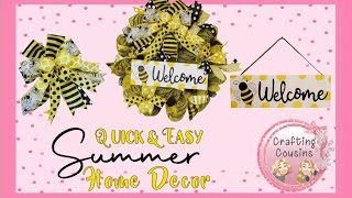 BEE THEME BOUTIQUE WREATH, Bee wood Sign, Deco Mesh Wreath and BOW tutorial with EZ Bow Maker