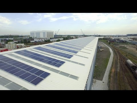 Solar panels on a warehouse using steel metal cladding and roofing systems