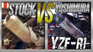 15-17 Yamaha R1 Stock Exhaust vs Yoshimura 3/4 Exhaust Sound Comparison