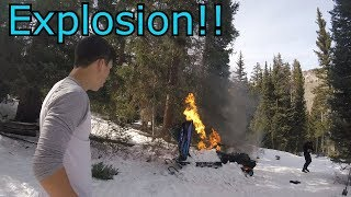 Snowmobile Catches On Fire And Blows Up!!