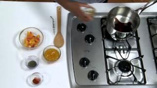 Pork Chops with Balsamic Peach Glaze, Roasted Sweet Potatoes and Broccoli