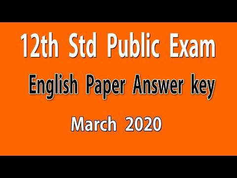 #12th Std Public Exam English Answer Key 2020 │ +2 Exam 2020 English Answer Key │ Do Something New