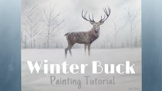 Snowy Winter Deer Oil Painting Landscape (Tutorial) - By Artist, Andrea Kirk | The Art Chik