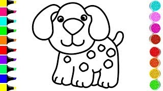 DOG Drawing And Coloring For KIDS ! ANIMAL Coloring Videos ! KIDS Learn Color