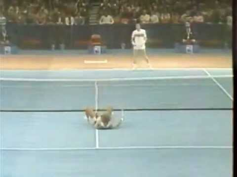 Andy Murray Ivan Lendl tennis shot nearly kills opponent with brutal forehand shot to the guys head.