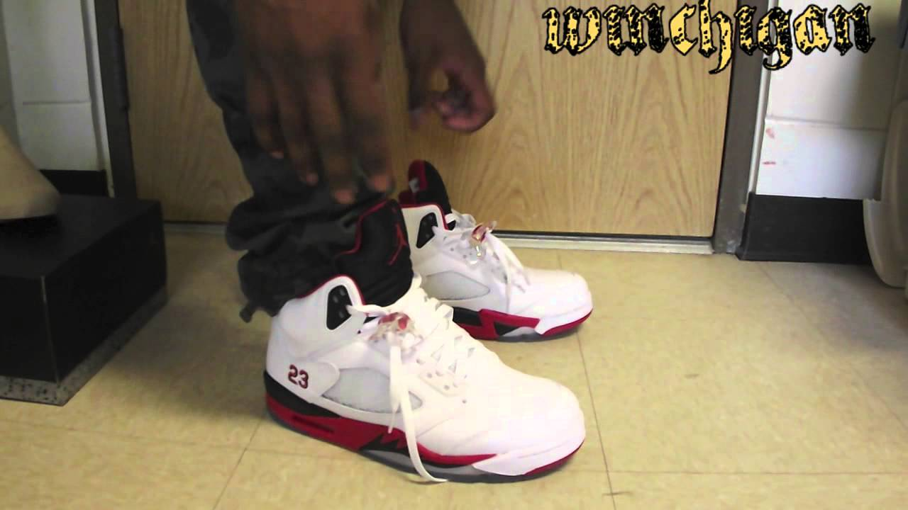 8af35bb89f0 ... spain 2013 air jordan retro 5 black tongue fire red on feet review  youtube 51618 64149 ireland air ...