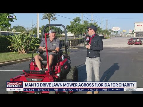 Man-drives-lawn-mower-across-Florida-for-charity