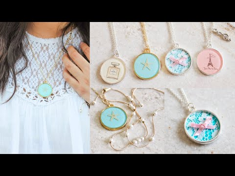 DIY Necklaces: Chanel, Lace, Starfish, & Paris (Resin/Mod Podge)