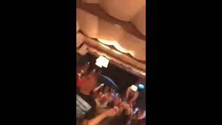 Jamie Carragher with Liverpool fans singin Mo Salah, The Egyptian King!