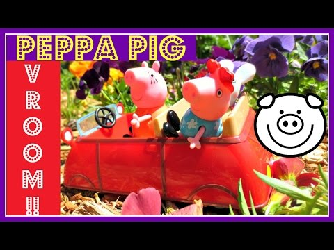 Peppa Pig's MINI RED CAR Sunday Drive - TRAINS, FLOWERS And FISH!!