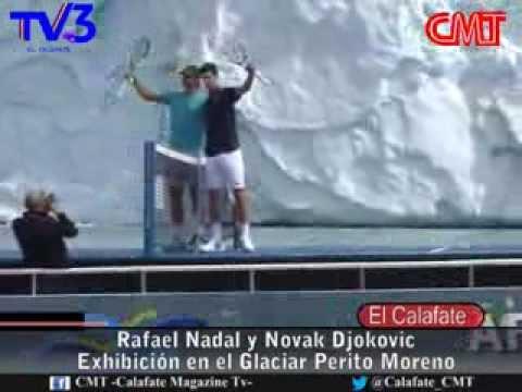 Rafael Nadal y Novak Djokovic en el Glaciar Perito Moreno