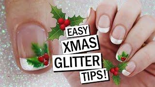 Christmas Holly GLITTER TIPS! Easy Xmas Nail Art | Nailed It NZ