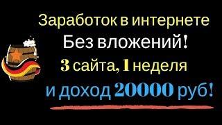 Заработок в интернете без вложений! 3 сайта, 1 неделя и доход 20000 руб!