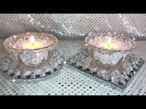 Diamond & Crystal Coasters With Diamond Candy Dishes #springdecor #blingismything #dollartreedecor