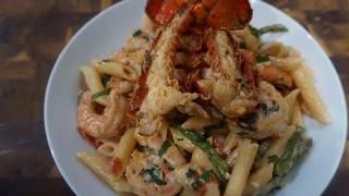 Penne Shrimp &amp Lobster Pasta W White Wine Cream Sauce  Pasta Dinner  Easy &amp Quick Pasta Dinner