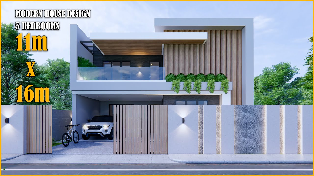 Download House Design | Modern House 2 Storey  | 11m x 16m with 5 Bedrooms