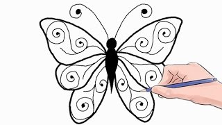 draw easy butterfly step drawing rose drawings butterflies simple رسم beginners ورد tutorial ورده clip pages flowers lessons agaclip