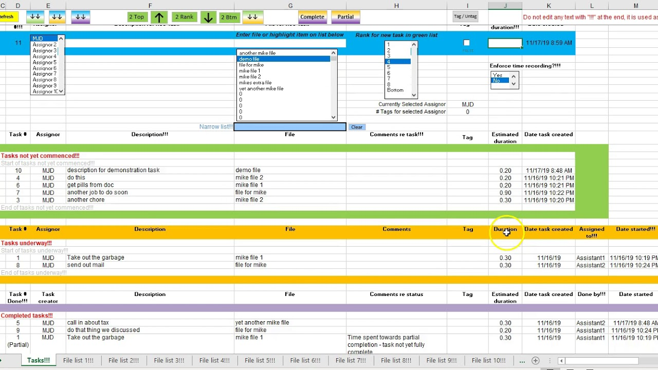 A task tracking template can be used to plan the course of a carrying out a project and evaluate expected date of accomplishment of the target. Task Tracker 3 3 2019 Updates To Task Tracker Spreadsheet Youtube