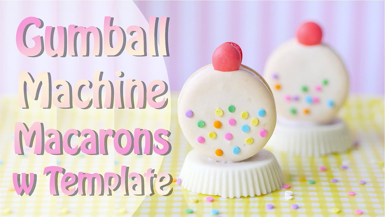 how to bake white gumball machine macarons with template youtube