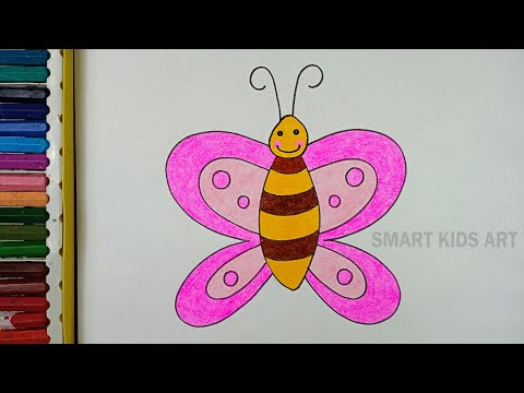 How To Draw Butterfly   Butterfly Drawing   Drawing For Kids    Easy Drawing   Smart Kids Art