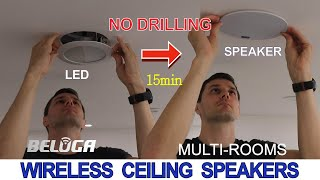True wireless ceiling speakers amplifier system for multi-rooms background music