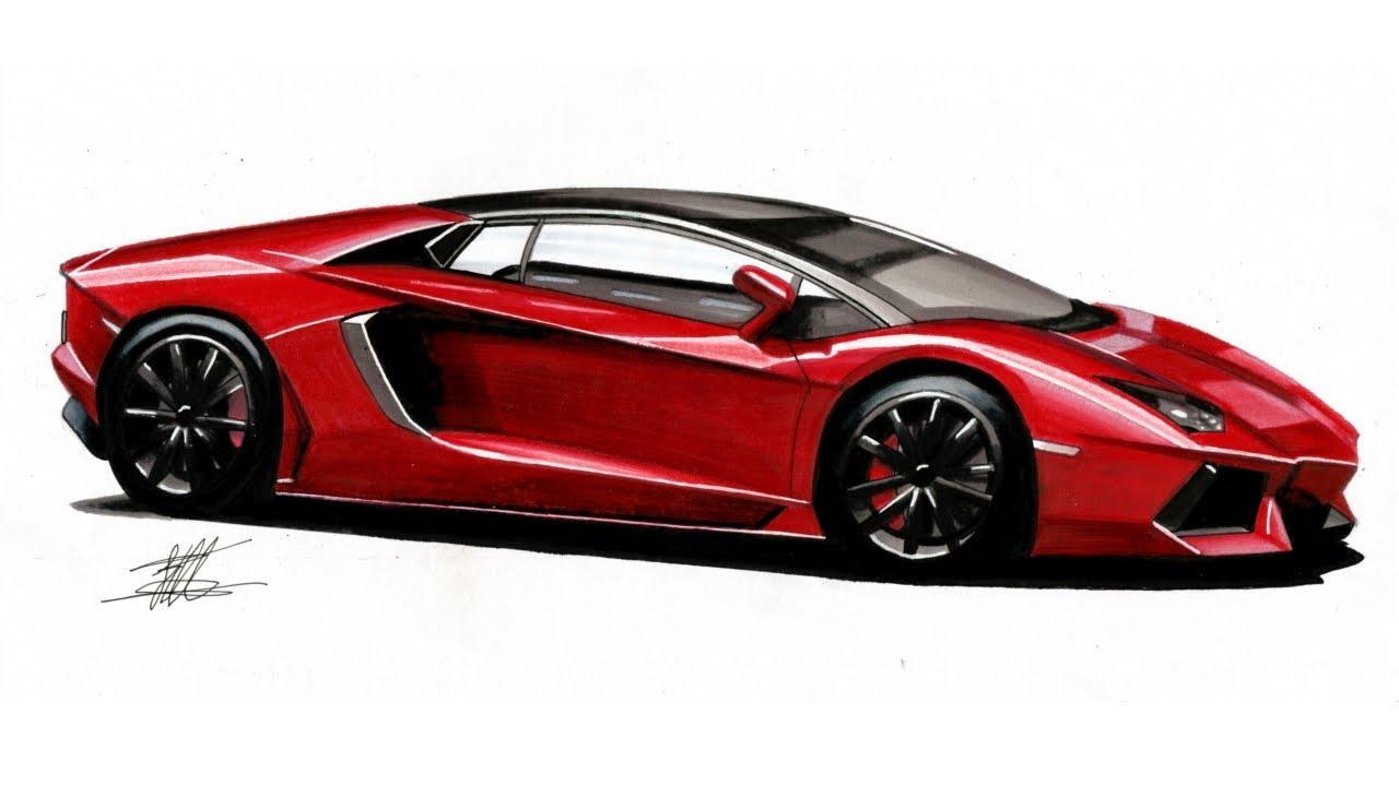 24 2 Mb Realistic Car Drawing Lamborghini Aventador Time Lapse