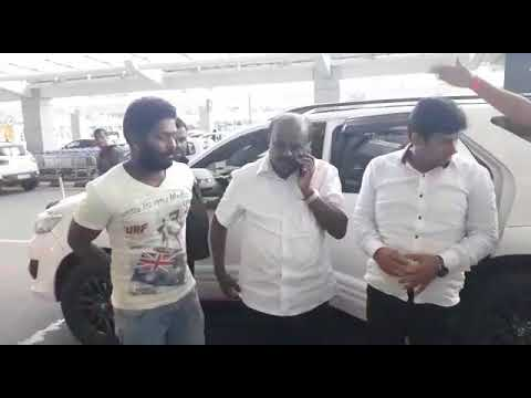 IMRAN PASHA WITH SRI HD KUMARSWAMY in his CAR @ BANGALORE INTERNATIONAL AIRPORT to SEE Him OFF