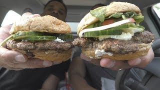 Eating Smashburger w/ Spinach, Cucumbers & Goat Cheese @hodgetwins thumbnail