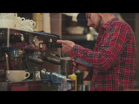 Barista prepares the morning coffee for coffee customers