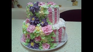 Как собрать двухъярусный торт, украсить КРЕМОМ  БЗК / How to assemble tiered cake, decorate