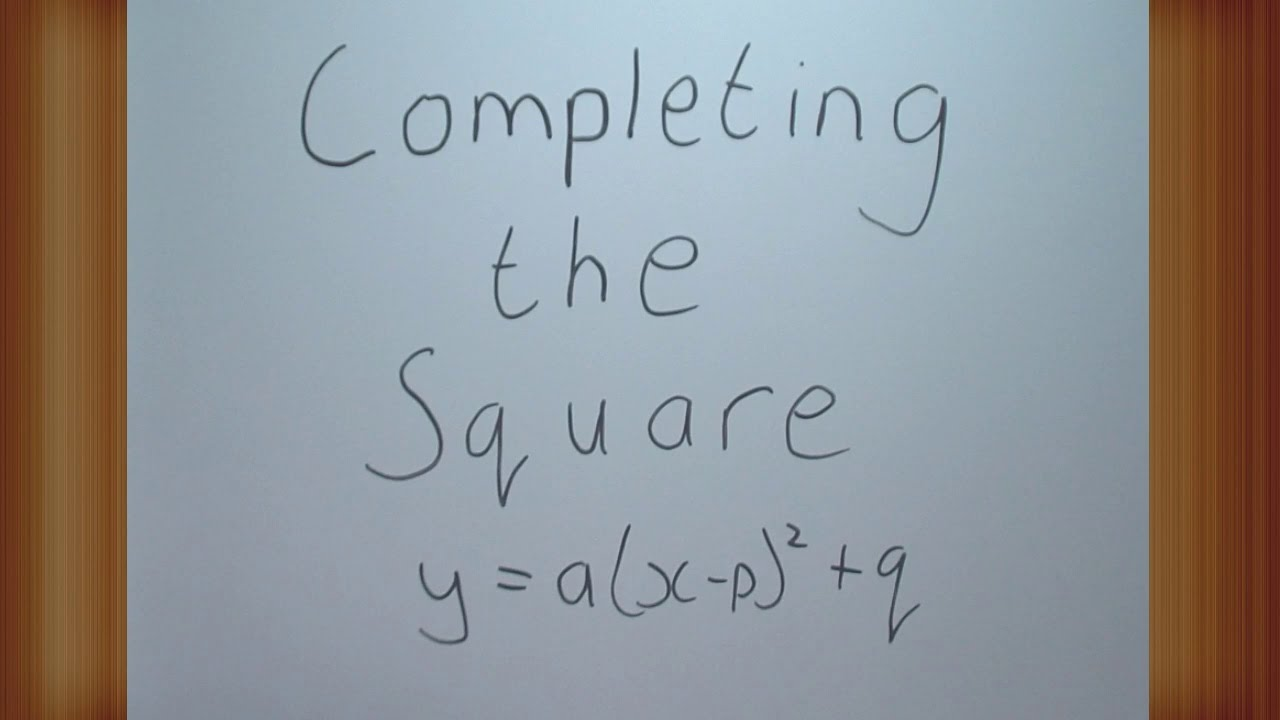 Completing The Square To Find The Turning Point Of A