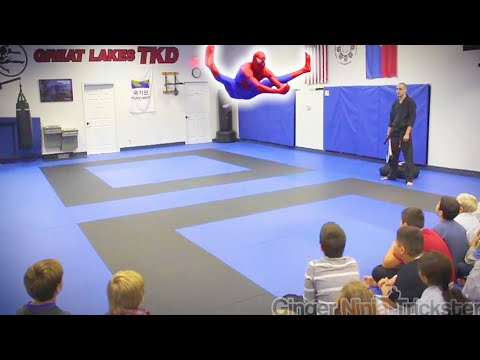 🕷️ SPIDERMAN Visits Great Lakes TKD | Flips & Kicks