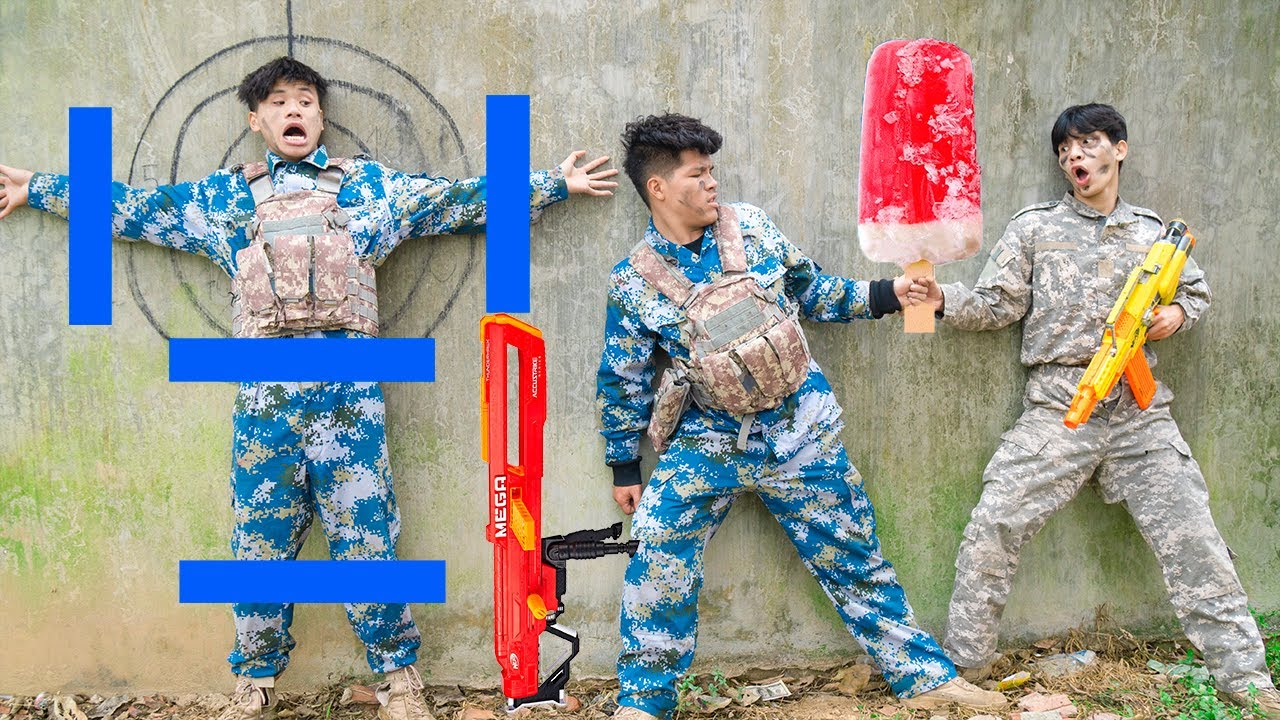 Battle Nerf War: POLICE COMPETITION Nerf Guns Crime Idiots ICE CREAM BATTLE NERF