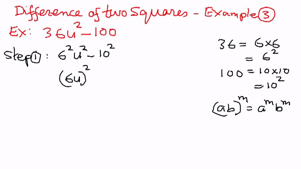 difference of two squares Factorising the difference of two squares the technique of factorising a quadratic expression has been explained on the leaflet factorising quadratic expressions there is a special case of quadratic expression known as the difference of two squares this leaflet explains what this means and how such expressions are.