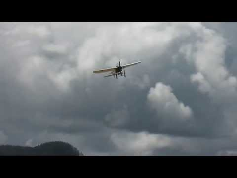 Ancient plane, Bleriot XI 1912 flying at Vaernes Airshow