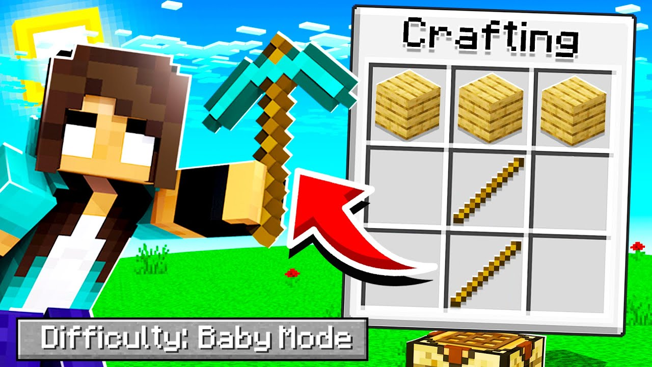 So I let noob Girl try Minecraft BABY Mode...