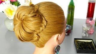 Прическа с плетением на длинные волосы: Лепестки из волос. Вариация пучка.