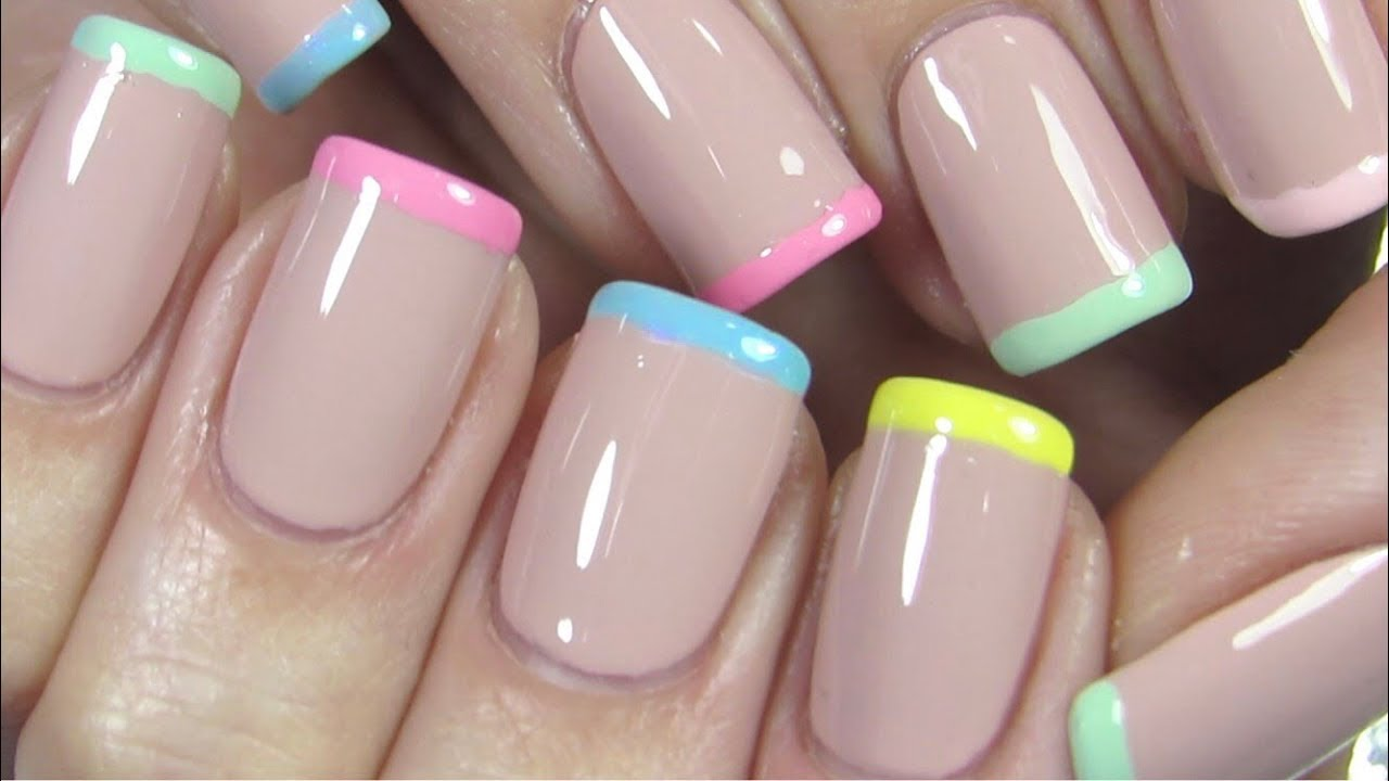 French Manicure Nail Tutorial Colorful Pastel French Mani