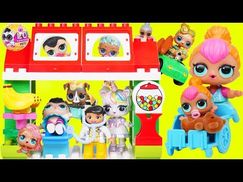 Custom LOL Surprise Dolls Play at Duplo Town with Unicorn Lil Sisters + Customized DIY Baby Pet