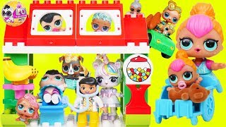 Custom LOL Surprise Dolls Play at Duplo Town with Unicorn Lil Siste...