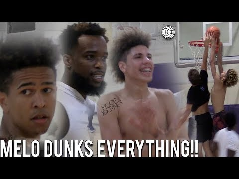 LaMelo Ball SHUTS DOWN THE GYM!! DUNKS on JesserTheLazer!! YouTubers vs Lamelo Ball