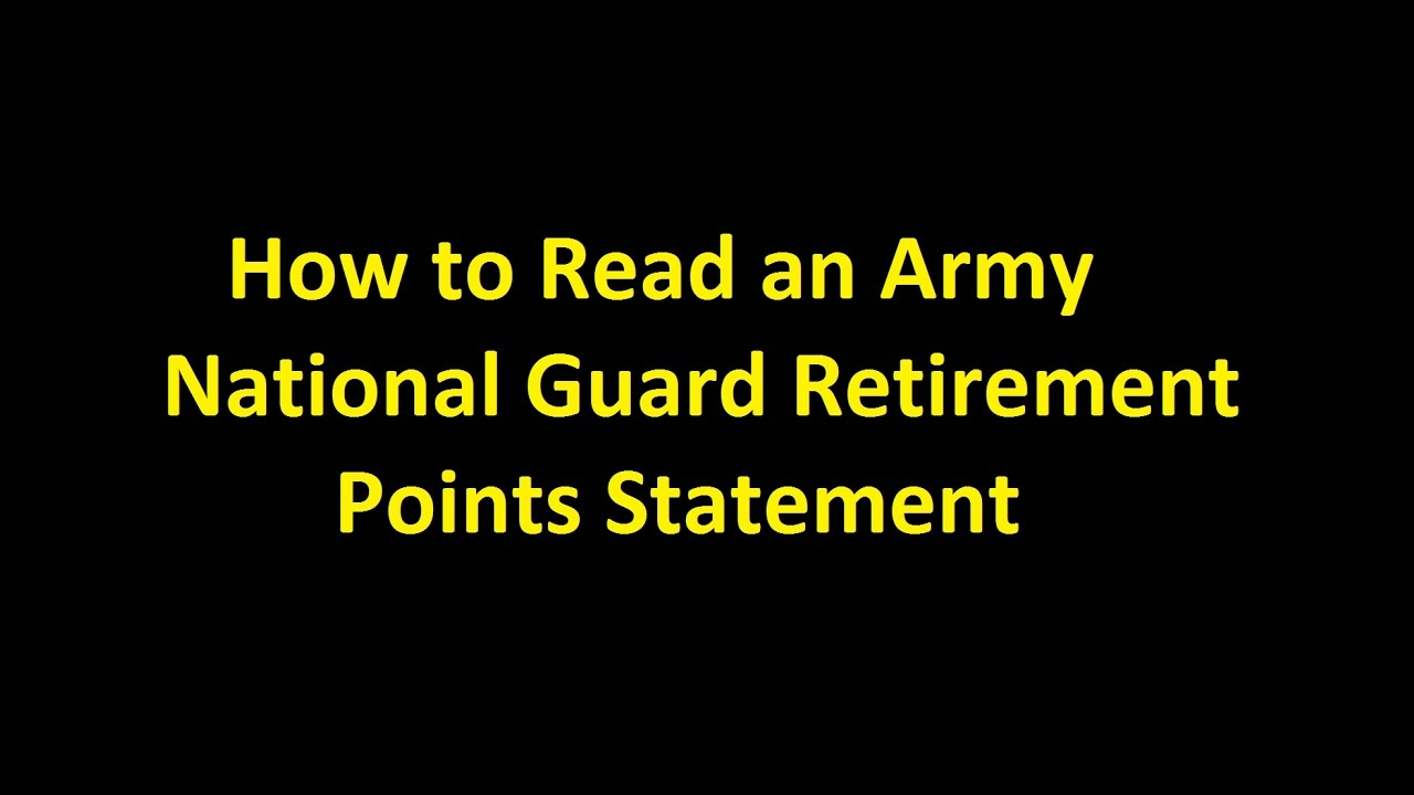 Episode 0012 - How to Read an Army National Guard Retirement ...