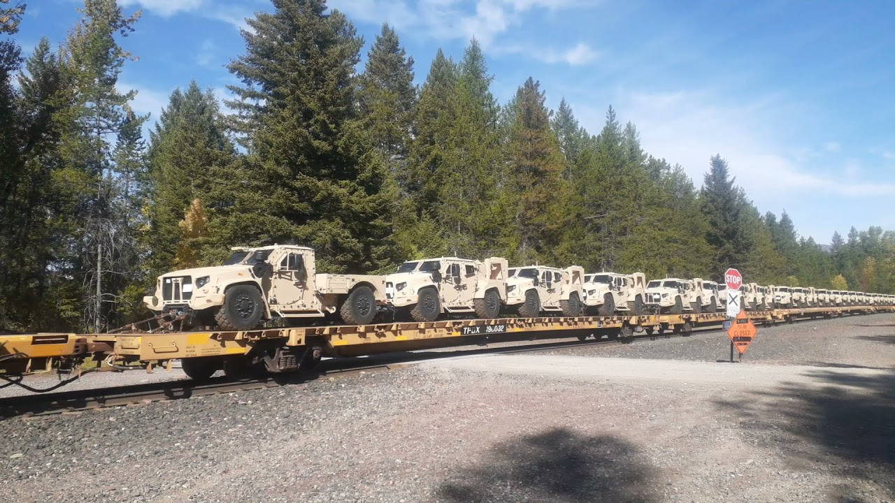 Military Vehicles on a Train - West through Montana -10/2/21