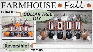 FARMHOUSE FALL DECOR (2019) | Dollar Tree DIY | REVERSIBLE!