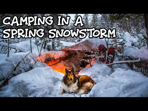 Spring Snowstorm Overnight Camping
