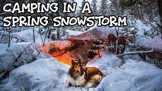 Spring Snowstorm Overnight Camping