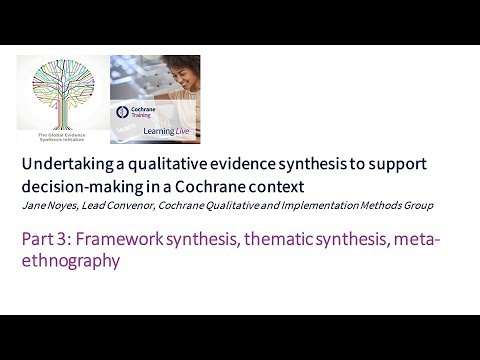 Part 3: Framework Synthesis, Thematic Synthesis, Meta-ethnography