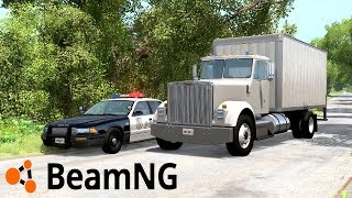 "POLICJA VS OGROMNA CIĘŻARÓWKA POŚCIG! - BEAMNG.DRIVE ""Delivery Truck Takedown"""