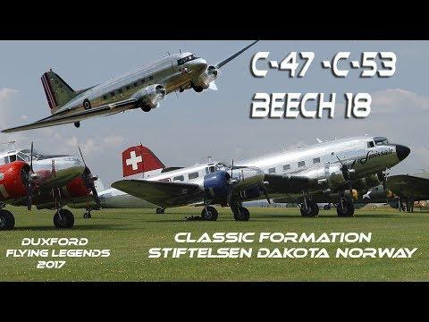 4K UHD  C47  C53  Beech 18  Classic formation and Stiftelsen Dakota DC3 Norway Flying legends 2017