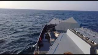 بالفيديو| سفينة حربية روسية تطلق النار في إطار تجربتها